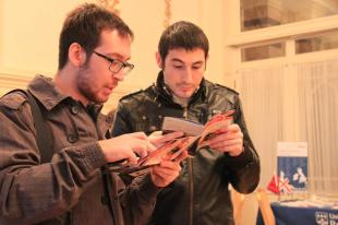 Students check the programme
